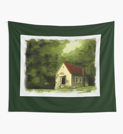 COUNTRY CHURCH, Pastel Painting, with Custom Edging, for prints and products Wall Tapestry