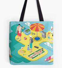 Isometric Beach Life - Summer Holidays Concept  Tote Bag