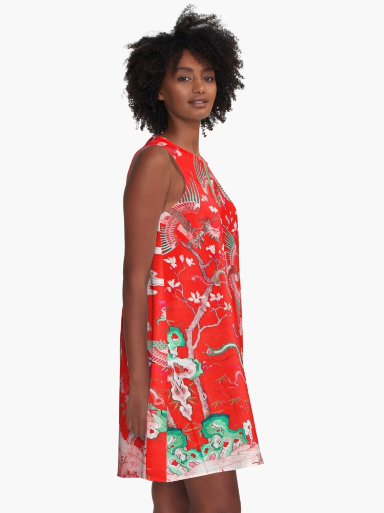 Alternate view of Five Phoenixes in The Garden ,Chinese Imperial Bright Red Floral Tapestry A-Line Dress