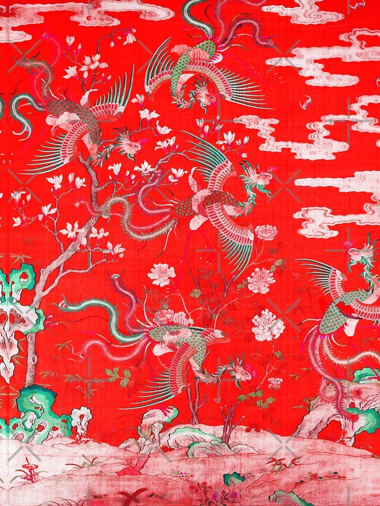 Five Phoenixes in The Garden ,Chinese Imperial Bright Red Floral Tapestry by BulganLumini