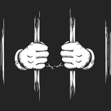 Hands in Cuffs Holding Prison Bars by devaleta
