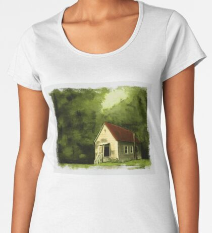 COUNTRY CHURCH, Pastel Painting, with Custom Edging, for prints and products Women's Premium T-Shirt