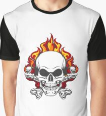 Skull in Flame Graphic T-Shirt