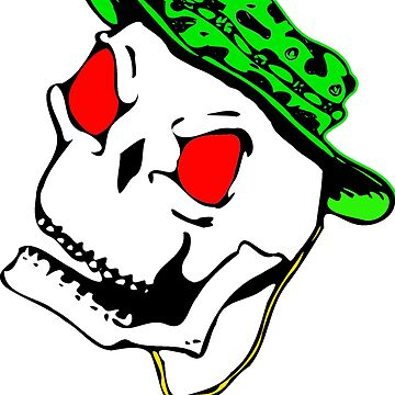 Halloween Scary Skull with Green Hat and Gold Necklace  by Sapphire-X