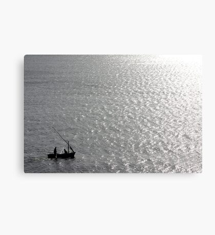 Little Us In Our Little Boat On A Big Sea Canvas Print