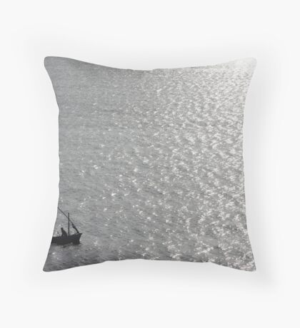 Little Us In Our Little Boat On A Big Sea Throw Pillow