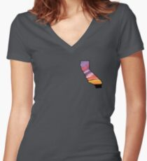 California State Sunset Graphic Women's Fitted V-Neck T-Shirt