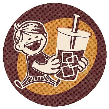 Ice-brewed dude - Kid with Coffee Drink - Sticker by ThatBenWalker