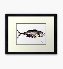 Albacore Tuna - Fish and Flowers Series Framed Print