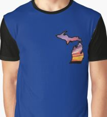 Michigan State Greats Lakes Sunset Design Graphic T-Shirt
