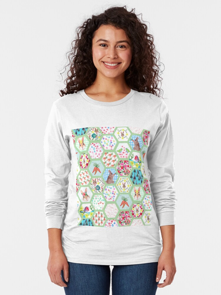 Alternate view of Spring Rabbit Floral Patchwork hexagons Long Sleeve T-Shirt