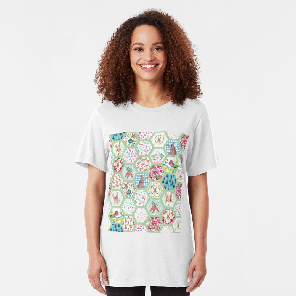 Spring Rabbit Floral Patchwork hexagons Slim Fit T-Shirt