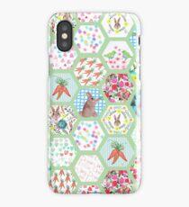 Spring Rabbit Floral Patchwork hexagons iPhone Case