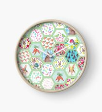 Spring Rabbit Floral Patchwork hexagons Clock