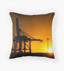 Monster Cranes at Sunrise Throw Pillow