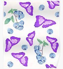seamless pattern in watercolor of a butterfly and blueberries Poster