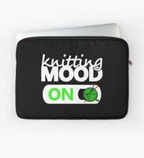 knitting mode on green / funny quotes knitters Laptop Sleeve