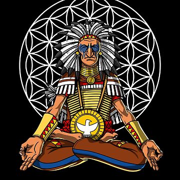 Native American Chief Indian Buddha Zen Yoga Meditation by underheaven