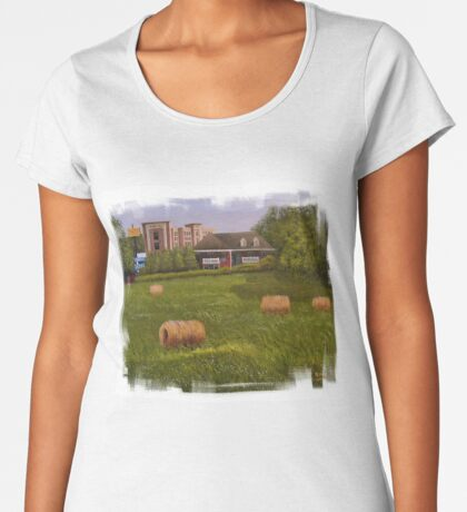 A LITTLE BIT OF COUNTRY, Acrylic Painting, with Custom Edging... prints and products Women's Premium T-Shirt