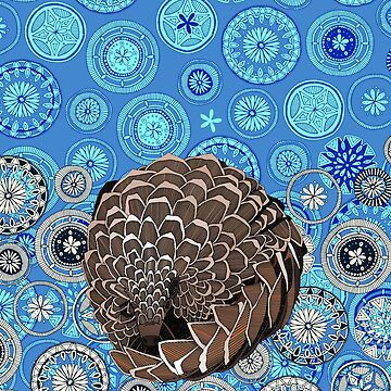 pangolin mandala blue by scrummy