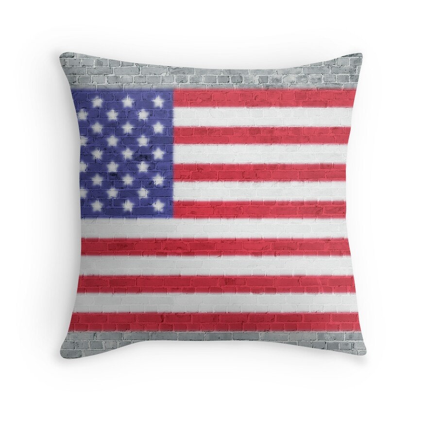 USA Flag Whitewashed Loft Apartment Brick Wall