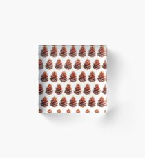 seamless pattern in watercolor of a pine cone Acrylic Block