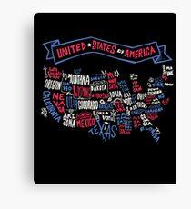 America Map (Typography) Canvas Print
