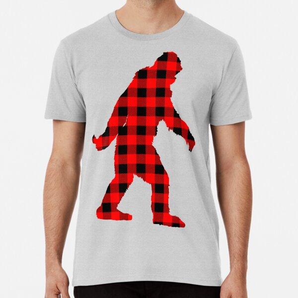 Buffalo Check Red and Black Plaid Lumberjack Sasquatch Bigfoot Silhouette Canadiana Style Premium T-Shirt