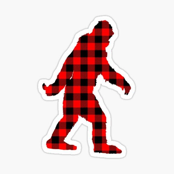 Buffalo Check Red and Black Plaid Lumberjack Sasquatch Bigfoot Silhouette Canadiana Style Sticker