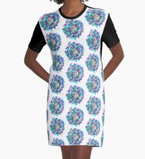 Vestido camiseta Stained glass effect Flower inked water Doodle