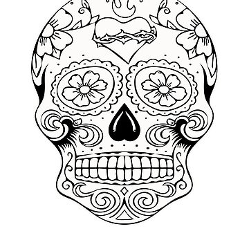 Day Of the Dead Skull Sugar Coloring T Shirt Heart by SmartAndPunny