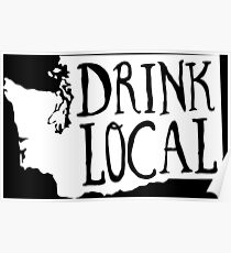 Drink Local Washington State Outline Craft Beer Poster
