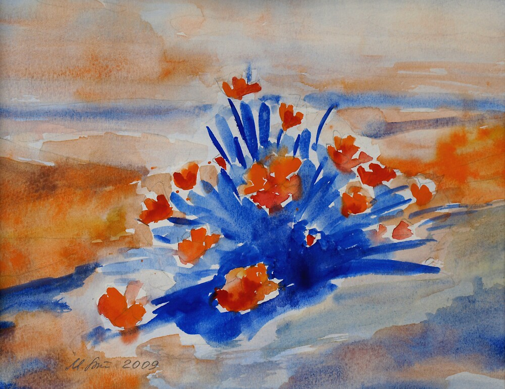 California Poppies - Orange and Blue by Mila Birger
