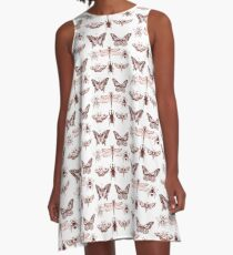 Red Insect Series in pointillism A-Line Dress