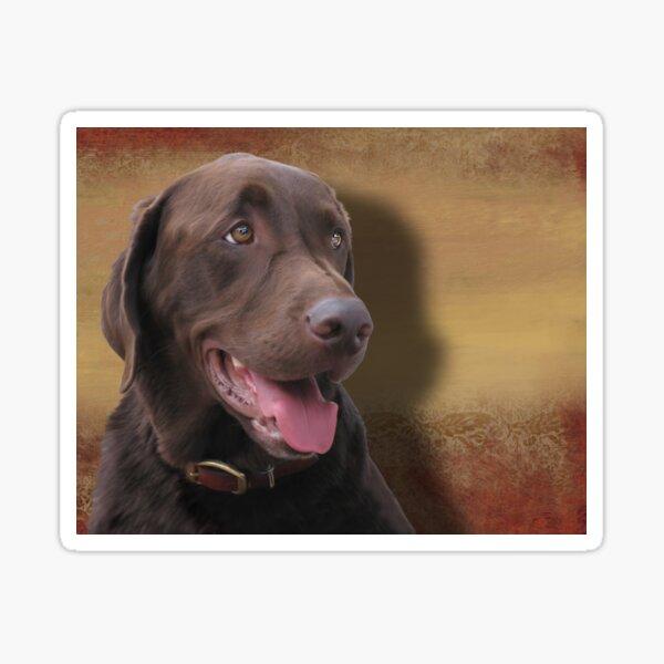 Chocolate Labrador Retriever portrait painting Sticker