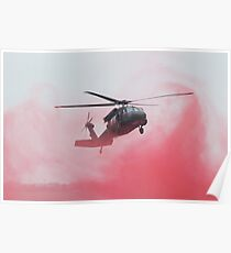 Helicopter Lands in Smoke Poster