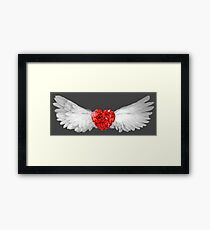 Red Ruby Heart Gem with White Wings Framed Print
