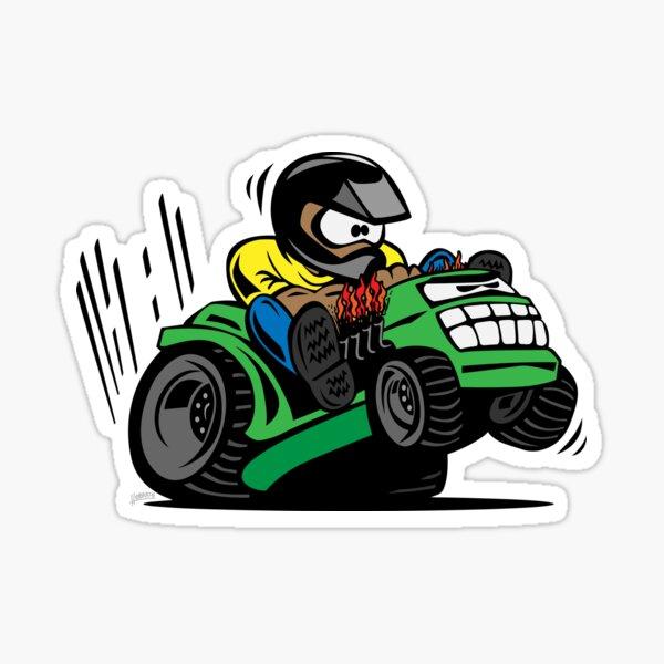 Cartoon Riding Lawnmower Tractor Sticker