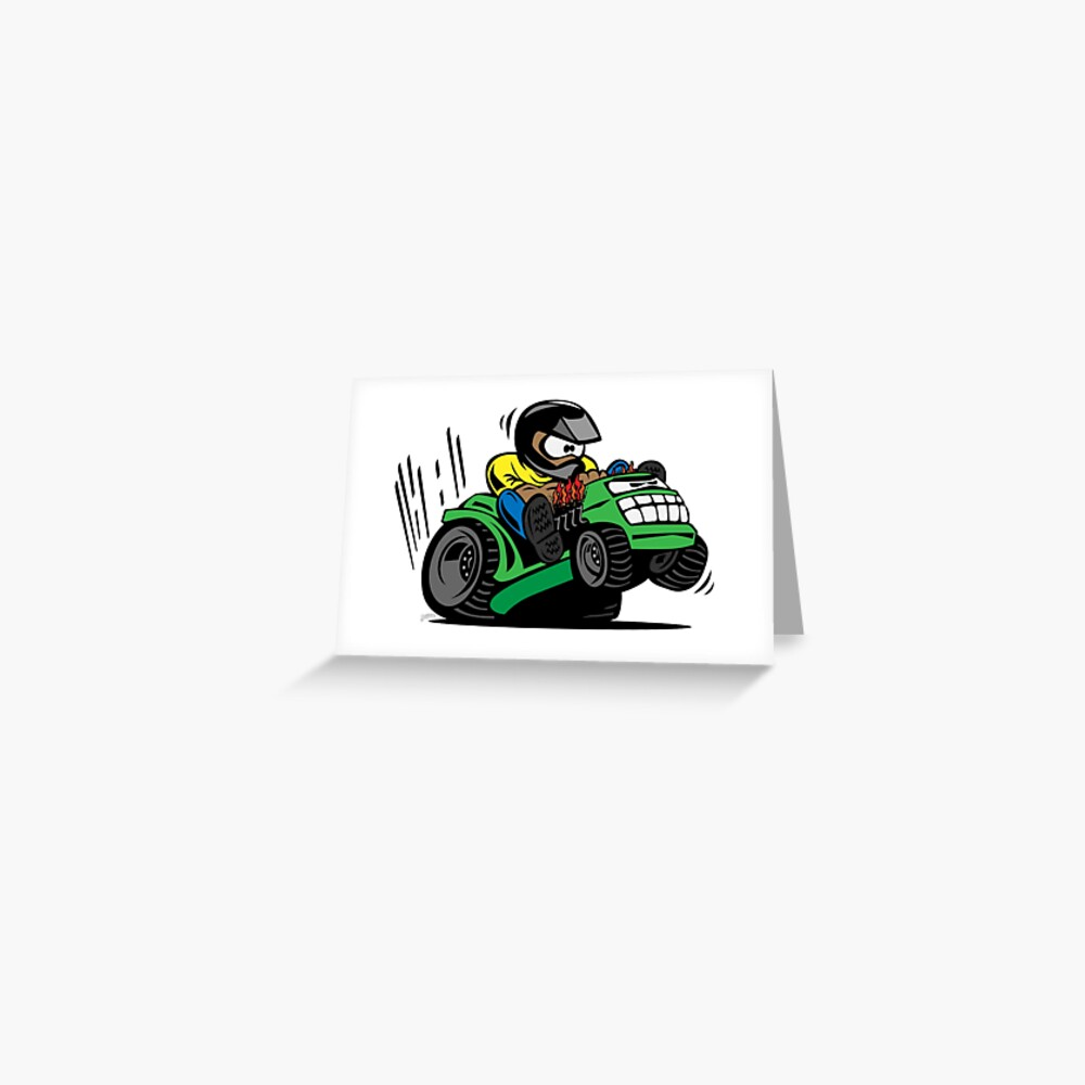 Cartoon Riding Lawnmower Tractor Greeting Card