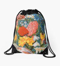 Viktorianisches Blumen-Kasten-Weinlese-Einklebebuch-Blumen mit Tulpen, Narzissen, Krokus, Freesie und mehr Turnbeutel