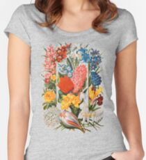 Victorian Flower Box Vintage Scrapbook Flowers with Tulips, Narcissus, Crocus, Freesia and More Women's Fitted Scoop T-Shirt
