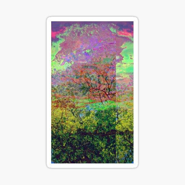 Leafy Treetop Glitch Art Sticker