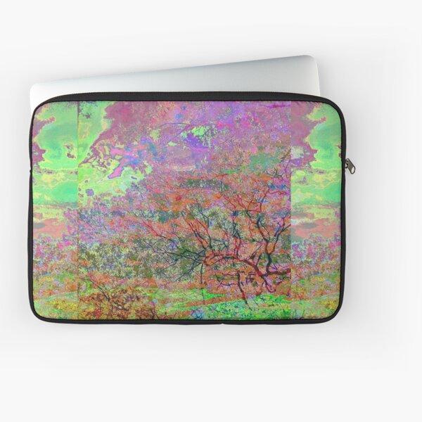 Leafy Treetop Glitch Art Laptop Sleeve
