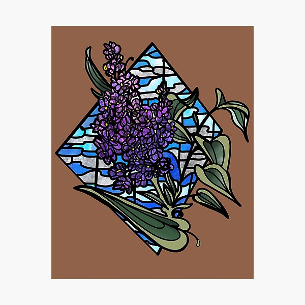Lilac stained glass Photographic Print