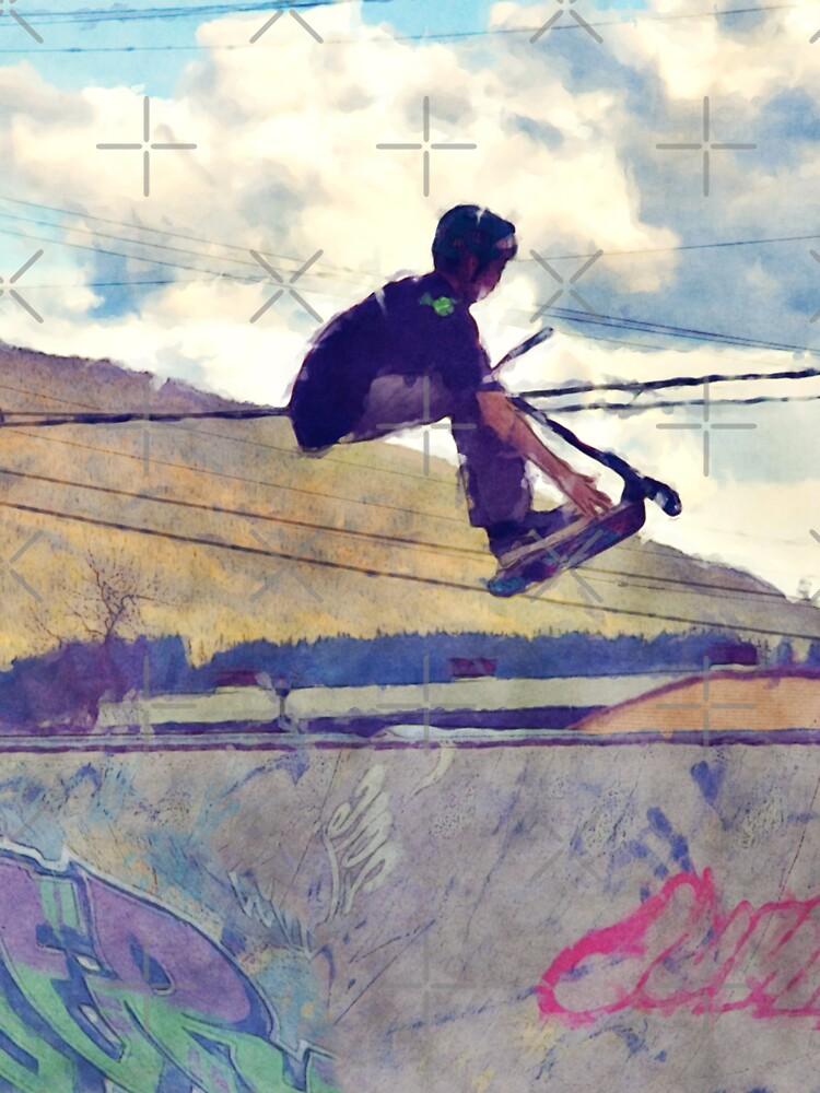 Graffitti Glide Stunt Scooter Sports Artwork  by RavenPrints