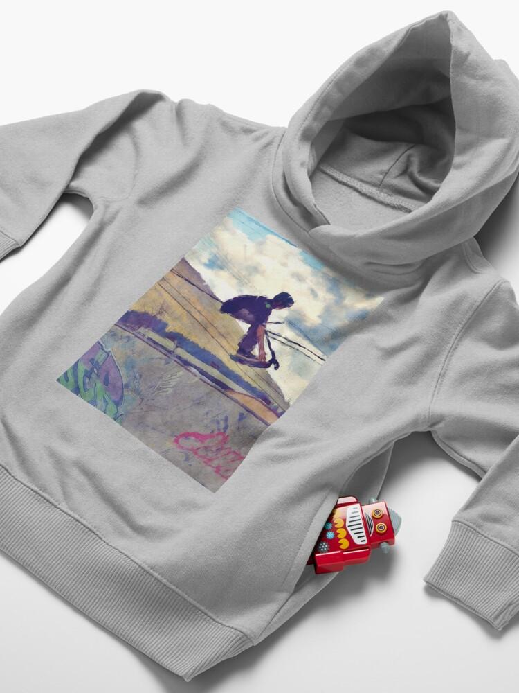 Alternate view of Graffitti Glide Stunt Scooter Sports Artwork  Toddler Pullover Hoodie
