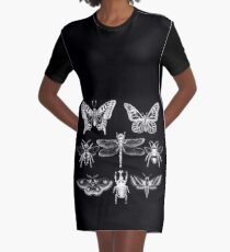 White Insect Series Graphic T-Shirt Dress