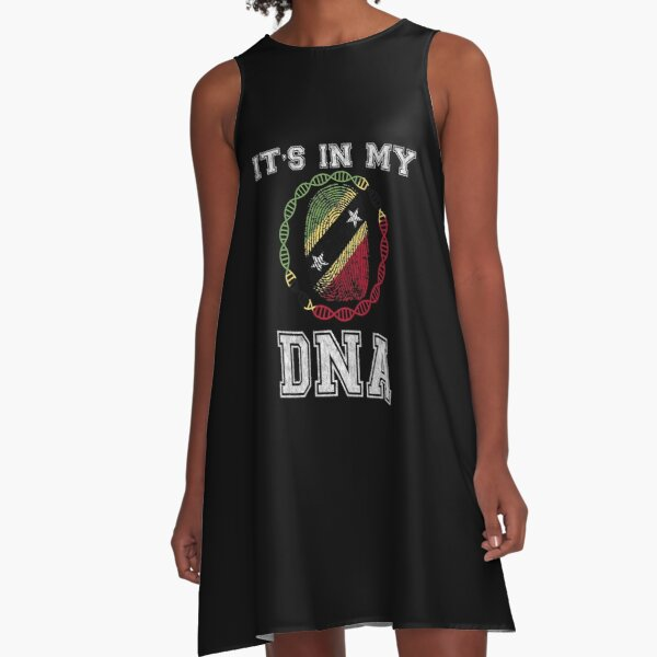 Saint Kitts And Nevis Its In My Dna Gift For Saint Kitts And Nevis From Saint Kitts And Nevis - DNA Strand and Thumbprint With Saint Kitts And Nevis Flag A-Line Dress