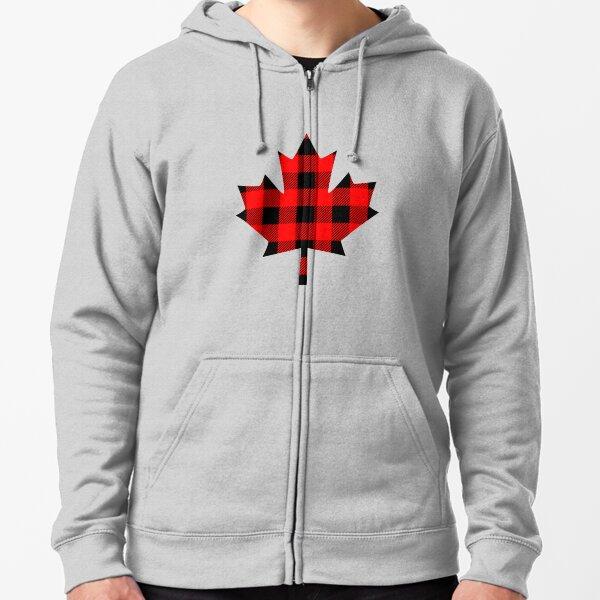 Buffalo Check Red and Black Plaid Lumberjack Canadiana Style Maple Leaf Zipped Hoodie