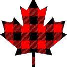 Buffalo Check Red and Black Plaid Lumberjack Canadiana Style Maple Leaf by Garaga